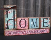 Wooden Home Decor Blocks - HOME