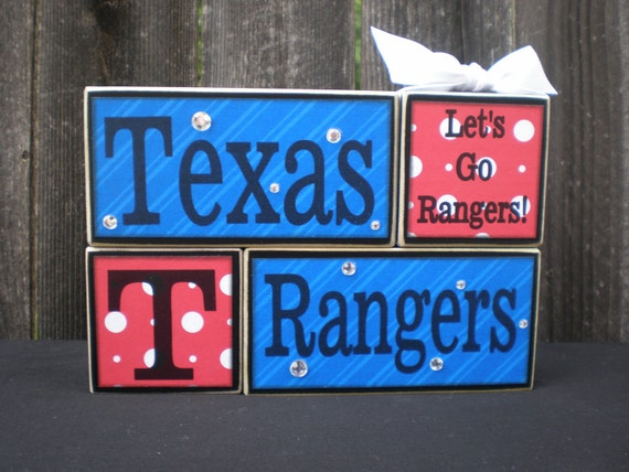 Wooden Blocks - TEXAS RANGERS  - Baseball (papers will vary to stock)