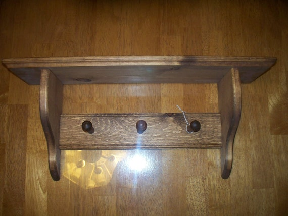 Wall Mounted Shaker Peg Shelf Coat Rack By