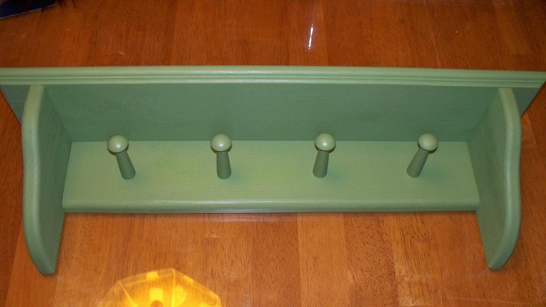 shaker peg wall shelf coat rack hanger country hanger with 4. Black Bedroom Furniture Sets. Home Design Ideas