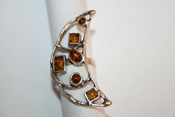 Sterling and Amber Ring Moon Design handcrafted