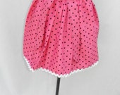 Hot pink and black polka dot apron