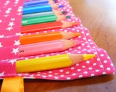 RESERVED FOR MEGAN Pencil Roll - Orange and Pink