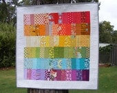 RESERVED FOR SARAH Scrappy Rainbow Quilted Wall Hanging