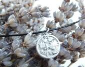 Japanese cherry blossom fine silver pendant, handmade from vintage button