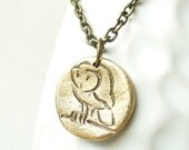 Owl pendant made from mold of antique wax seal, pure bronze
