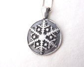 Frozen snowflake winter necklace pendant made from recycled silver, custom made to order