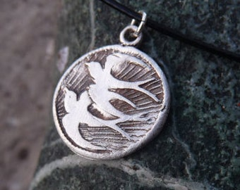 Birds wax seal style necklace swallows in flight, handmade from recycled silver