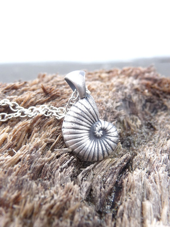 Nautical shell pendant necklace Ariel Disneybounding made from eco friendly recycled silver