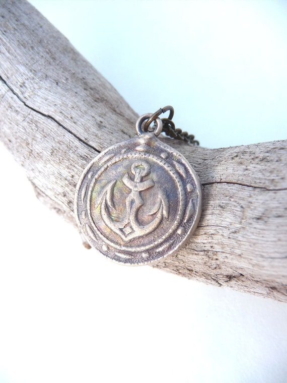 Nautical ship pendant, two sided with anchor on front and sailboat on back