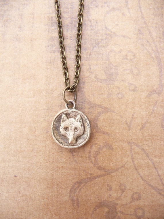 Fox pendant, made from vintage antique button