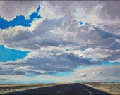 Uncertain Skies - original southwestern landscape sky painting in oils,  9x12, by S. Johnson