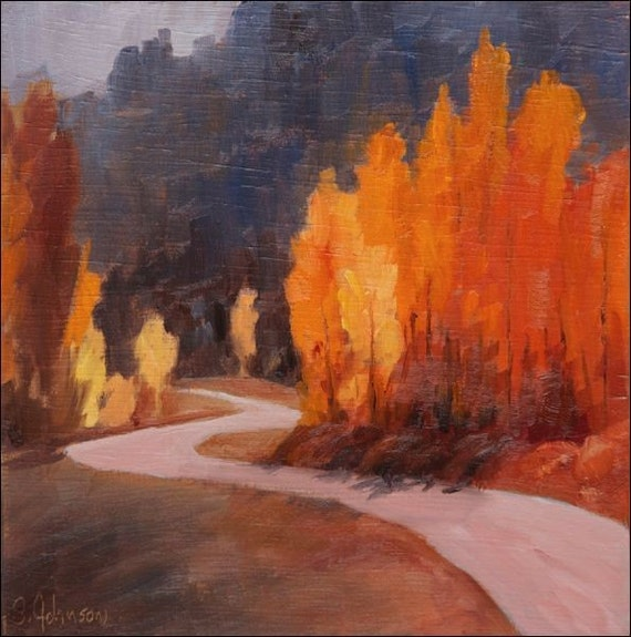 Landscape fall colors along road - original oil painting, 6x6, by S. Johnson