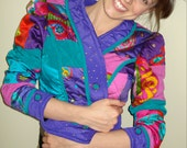 RESERVED Vintage Colorful Quilt Cropped Jacket