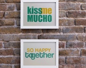 SALE Kiss me mucho / So happy together. Valentines Day. 2 Screenprints, 5.8 x 8.3 (A5)