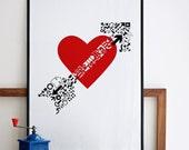 Cupid. Big screenprint poster. Red & black. Romantic - Love - Couple - Valentines 19.7 x 27.6