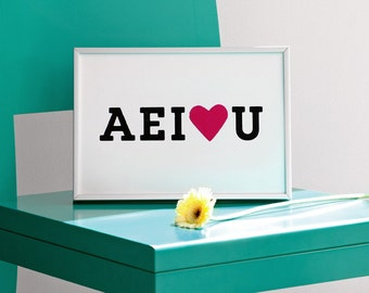 AEI love U, AEIOU, Vowels Print, Black and Pink Poster, Valentines Day Print, Sweet Print, Positive Artwork, Love Print, 8.3 x 11.7 (A4)