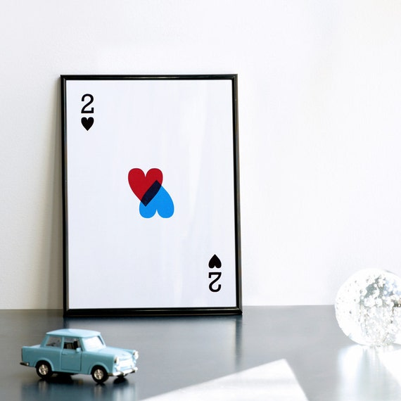2 of Hearts Print, Romantic Poster, Handmade Print, Red and Blue Print, Romantic Gift, Valentine Print, 8.3 x 11.7 (A4), Handmade Poster