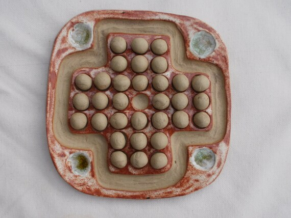Brown solitaire game - unique ceramic game - SALE was GBP28.00 - handmade