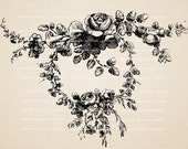 Baroque Flowers, crown  -  Digital Image Download Sheet, Transfer To Pillows ,Burlap Bag, or Print on paper, No 229