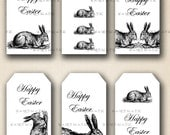 Happy Easter  Rabbit Tags -  Digital Collage Sheet, Download and Print Jpeg Clip Art Images(28)