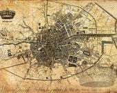 Digital Image Download Sheet - Old map of Dublin, 2set - Transfer to Burlap Bag,  Print wrapping paper, Wallpaper
