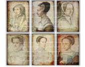 SALE French  portraits of women in 16th downloadable images  - Gift tags, ACEO cards, Printable Digital Collage Sheet to Download  Print 166