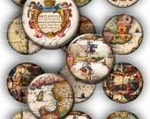 Old World  Maps Circles 1in 2in , Britain, Ireland  - Instant  Digital Collage Sheet, Download for Resin Pendant, Round Circle Images (19)