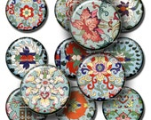 Oriental Asian Flowery prints -  Digital Collage Sheet, Download for Resin Pendant, Round Circle Images(17)