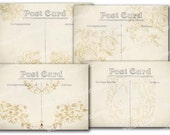 SALE Vintage 4 Post Cards and background papers digital instant download