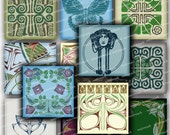 Art Nouveau designs, blue, green, red, yellow 2,5 in squares -  2 Digital Collage Sheets, Download and Print Jpeg Clip Art Images 113