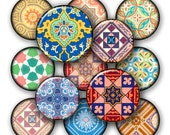 Oriental Asian fabric patterns prints -  Digital Collage Sheet, Download for Resin Pendant, Round Circle Images 133
