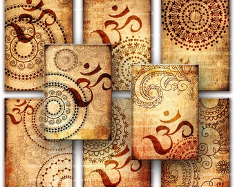 Oriental, Henna drawing, Om,  Zen, Tags -  Digital Collage Sheet, Download and Print Jpeg Clip Art Images 8