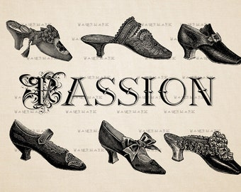 Downloadable images Passion, shoes, Victorian fashion -  Digital Image Download Sheet, Transfer To Pillows ,Burlap Bag, or Print on paper