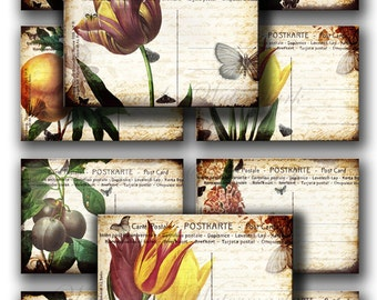 Vintage flowers on old POST CARDS, spring tulips -   Gift tags, ACEO cards, Printable Digital Collage Sheet to downloadable imagesPrint