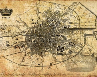 Digital Image Download Sheet - Old map of Dublin, 2set - Transfer to Burlap Bag,  Print wrapping paper, Wallpaper