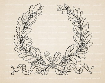 Digital Image Download Sheet -  Empire Designe Crown  with oak leaves - Transfer To Pillows ,Burlap Bag,Tags, or Print on paper  No 260
