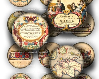 Old World  Maps Circles Britannia, England 1in  and  2in   -  Digital Collage Sheet, Download for Resin Pendant, Round Circle Images (12)