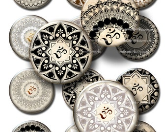 Oriental, Henna ,Mandalas, Om ,Mehndi white, Zen  - instant  Digital Collage Sheet, Download for Resin Pendant, Round Circle Images (148)