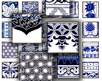 Asian Blue  Oriental Floral Chinese motifs flowers 1 in Squares - Digital Collage Sheet -   Download and Print Jpeg Clip Art Images 107