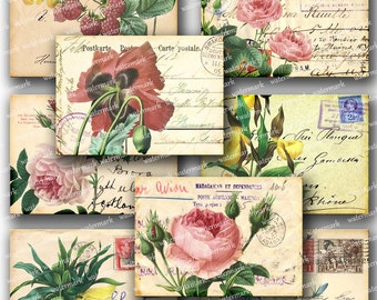Vintage flowers  POST CARDS, botanical plants French Script -  Gift tags, ACEO cards, Printable Digital Collage Sheet to downloadable 122