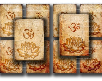 Sale / Oriental, Henna drawing, Om, Lotus flower, Zen - instant  Digital Collage Sheet, Download and Print Jpeg Clip Art Images 2