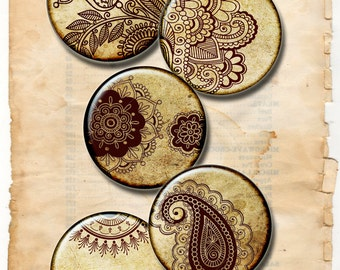 Henna drawing ,Mehndi, Zen Yoga  1 inch circles  -  Digital Collage Sheet,  instant Download for Resin Pendant, Round Circle Images 140