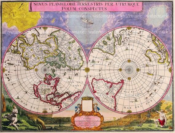 Pink Old World Map  illustration Digital Image Download Sheet , Transfer To Pillows ,Burlap Bag, or Print on paper, No 104