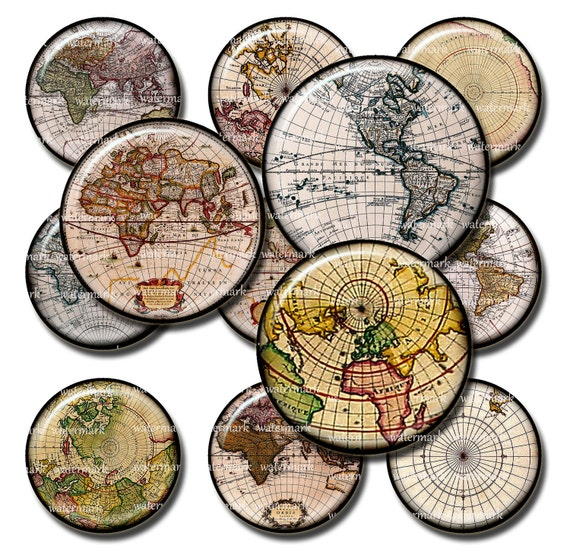 Old World  Globe Circles 1in  and  2in   -  Digital Collage Sheet, Download for Resin Pendant, Round Circle Images (10)