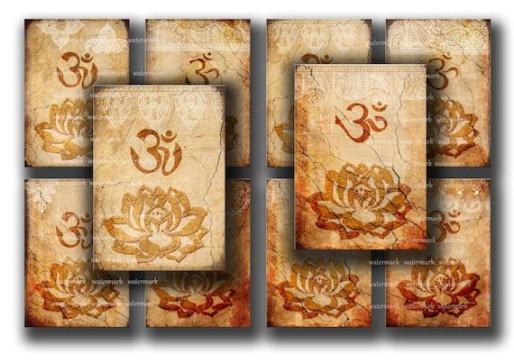 Sale / Oriental, Henna drawing, Om, Lotus flower, Zen - instant  Digital Collage Sheet, Download and Print Jpeg Clip Art Images 2