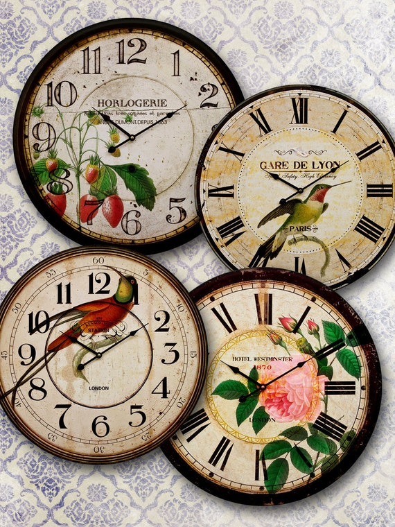 Clocks Old  Vintage Retro Antique Shabby Chic Style 4 in  -  Digital Collage Sheet, Download for decoupage, Round Circle Images 141