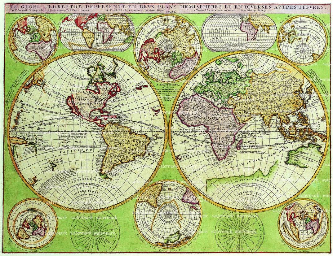 World Map Green Old Digital Image Download Sheet Transfer