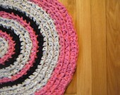 Handmade Hot Pink, Grey, and  Black Oval Rug For Etsy
