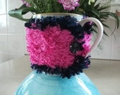 SALE Fun Mug Cosy - Vivid Pink & Navy Dining Accessories, Kitchen, Office, Gift,